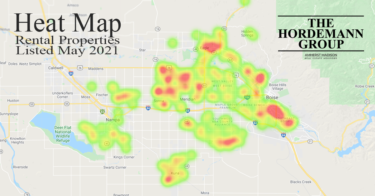 Heat map of properties listed in May 2021